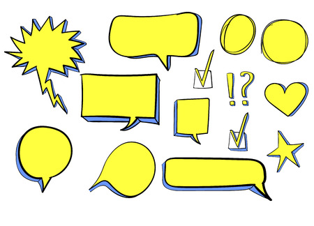 Set od 3d hand drawn icons: check mark, star, heart, speech bubbles. VECTOR. Yellow colored drawings