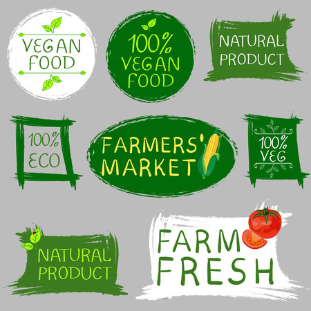Farmers market fresh food and vegan food logo. Hand drawn illustrations isolated on gray. Vector  イラスト・ベクター素材