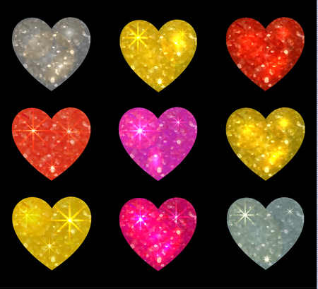 Set of glittering hearts isolated on black. VECTOR illustration