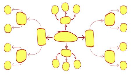 doodled: Hand drawn red and yellow mind mapping template. VECTOR illustration Stock Photo