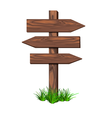 Houten VECTORwijzer met gras, die op witte illustratie, het malplaatje van ontwerpelementen wordt geïsoleerd
