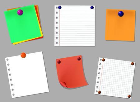Conjunto de elementos de diseño VECTOR: páginas de cuaderno con botones de pin realista aislado sobre fondo gris Foto de archivo - 92874842