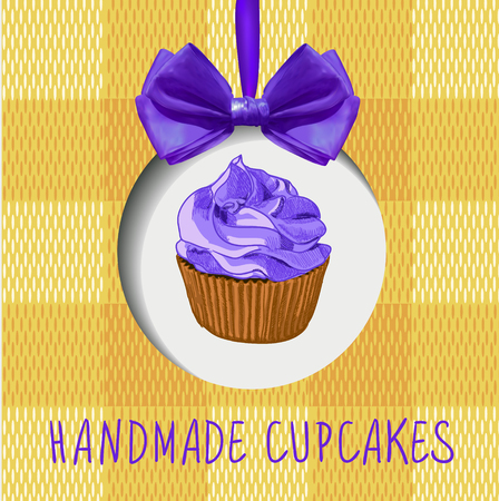 Handmade cupcakes: VECTOR label with hand drawn cupcake, realistic bow and textile texture.