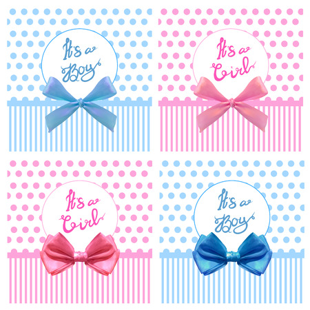 VECTOR cute its boy girl cards with realistic bows Illustration
