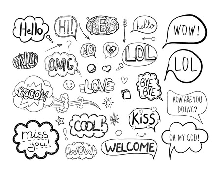Vector collection of freehand drawings: talk bubbles, comic elements, black doodle frames. Isolated vector illustration.