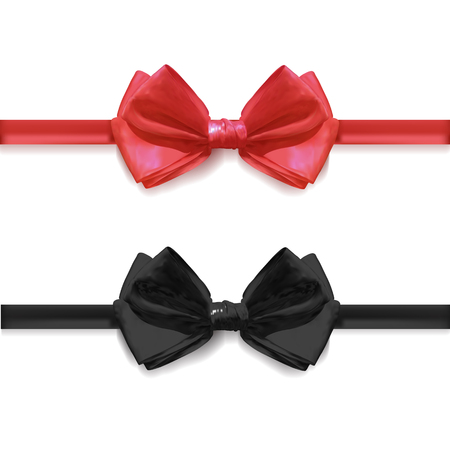 Realistic black and red bow ties, VECTOR illustration isolated.