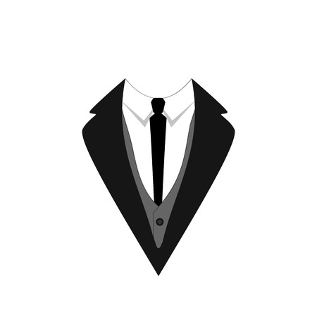 Tuxedo VECTOR Icon, Flat Design, Vector Illustration Template, Ceremony Official Dressing, Man Symbol Isolated on White Background.