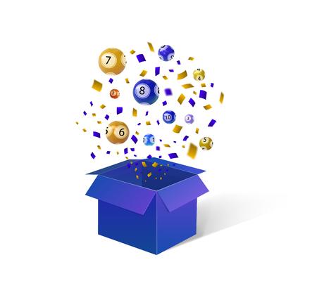 Öffnen Sie blaue Geschenkbox, Lotteriebälle und Konfetti. Vektor festliche Hintergrund Illustration. Vektorgrafik
