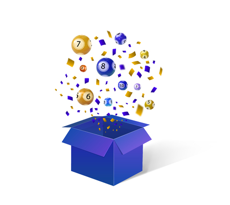 Open Blue Gift Box, Lottery Balls and Confetti. VECTOR festive Background illustration.