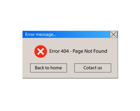 VECTOR Illustration: 404 Error Warning Message, Vintage User Interface, pop-up window design on White Background.