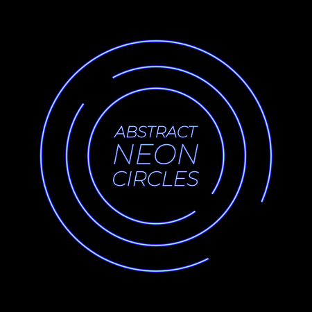 Neon Abstract Circles VECTOR glowing background template, bright blue neon lnes. Abstract Background. Illustration