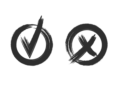 Controleer en kruis VECTOR grunge stijl merken geïsoleerd op een witte achtergrond: Ja en Nee, grafische pictogrammen, zwarte symbolen op wit. Stockfoto - 95848495