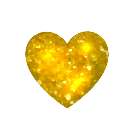 VECTOR gold heart, glitter illustration, shine effect, Valentines Day card element isolated on white background.