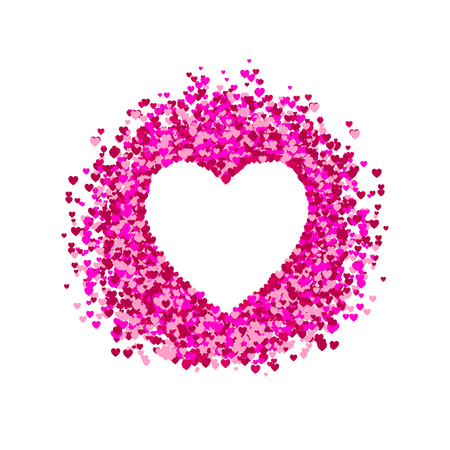 VECTOR heart frame, heart shape confetti, pile of hearts, romantic background, pink and red paper hearts. White Background.