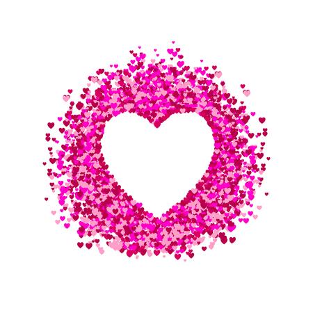 VECTOR hart frame, hart vorm confetti, stapel harten, romantische achtergrond, roze en rode papieren harten. Witte achtergrond.