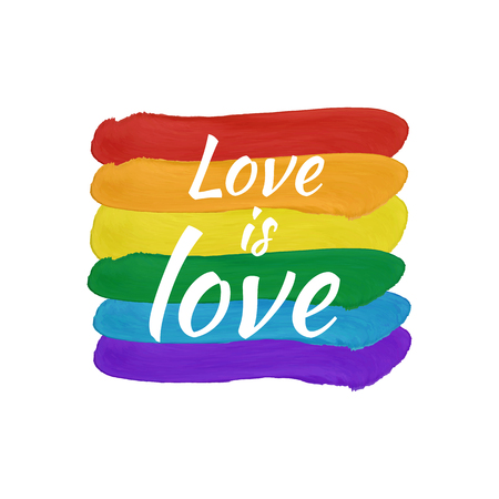 Paint smears flag background, rainbow colored, VECTOR illustration, lgbt flag and calligraphic words: Love is love. Isolate Image.