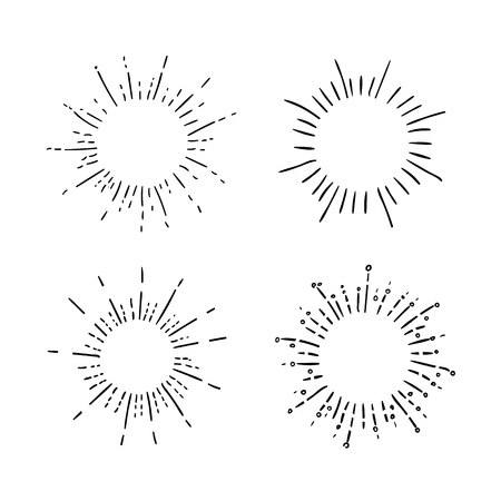 A VECTOR set of retro hand drawn sunburst symbols, black drawings isolated on white background.