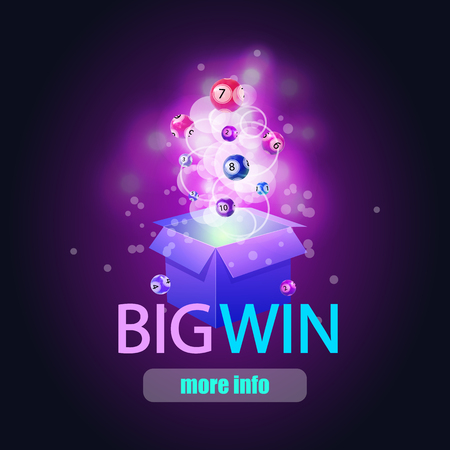 BIG WIN background with shining magic lights and lotto balls, VECTOR illustration. Image Background.