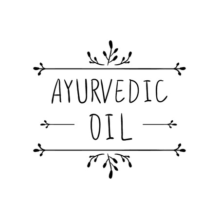 VECTOR Ayurvedic Oil hand drawn floral frame.