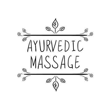 VECTOR Ayurvedic Massage hand drawn floral frame on White Background.