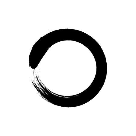 Zen Enso Circle VECTR icon, black on white, sign. Japanese Symbol