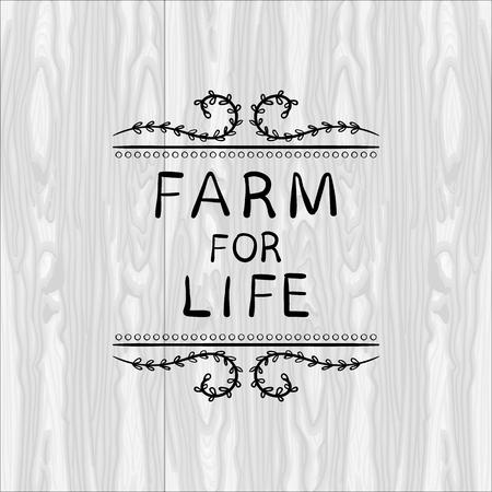 Farm For Life VECTOR illustration, Floral Doodle Frame, Black Outline Vignette on White Wooden Background. Illustration