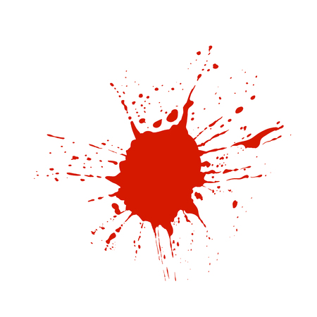 Blood, Red Paint VECTOR Splatter Isolated On White Background. Vectores