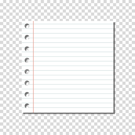 VECTOR: Blank Linear Ruled Notebook Page on Transparent Background.