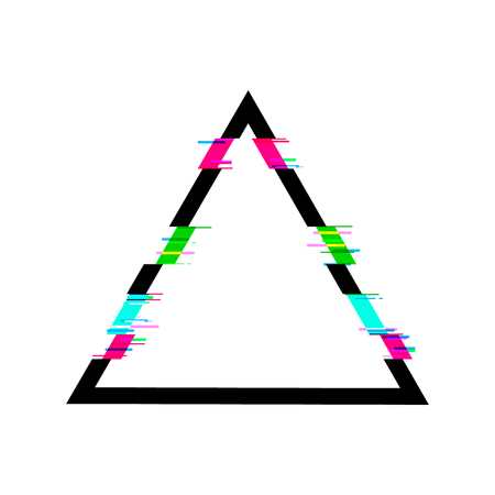 Glitched Triangle VECTOR Frame, Isolated on White Background Geometric Shape.