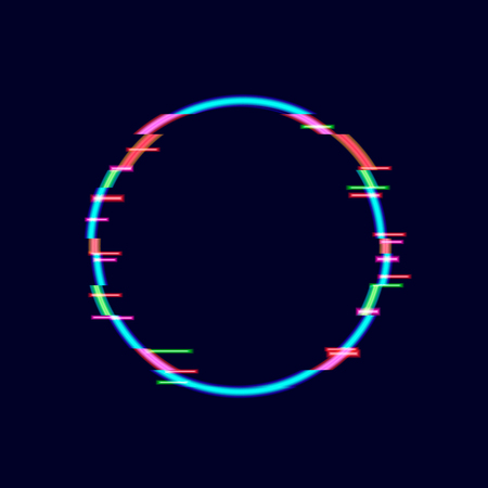 Neon Glitch Circle Frame, Technology Background, Minimalistic Design Element. Illustration
