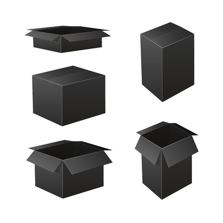 VECTOR Set of Back Boxes: Packaging Icons, Black Open and Closed Containers.