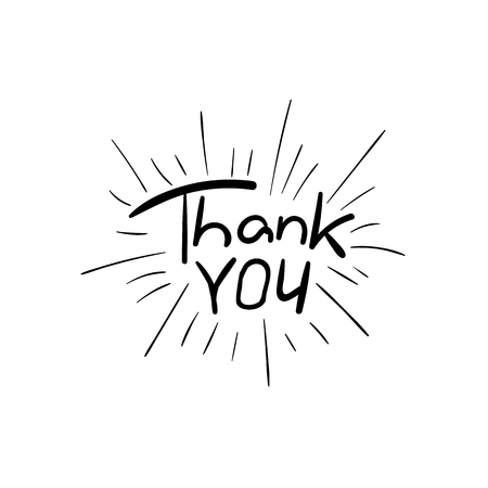 Thank You VECTOR Handwritten Retro Style Illustration, Black Drawing Isolated.