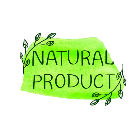 Natural Product, Hand Drawn VECTOR Illustration, Handwritten Letters on Paint Spot.