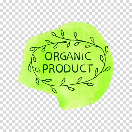 Organic Product, Hand Drawn VECTOR Illustration, Handwritten Letters on Green Paint.