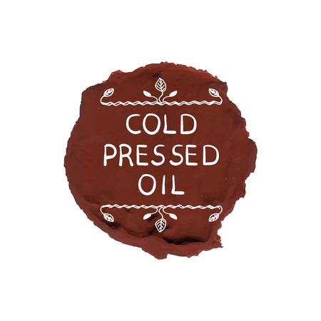 VECTOR Illustration: Cold Pressed Oil Seal Stamp Template, Packaging Decorative Element.
