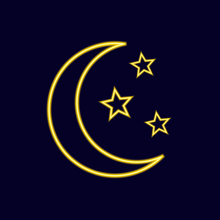 Neon VECTOR Moon and Stars Icon, Bright Fluorescent Night Symbol on Dark Background.