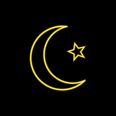 VECTOR Neon Islam Symbol: Moon and Star Glowing Illustration Isolated on Black Backdrop.