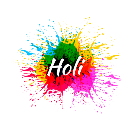 VECTOR Paint Splashes Illustration, Holi Festival, Isolated on White Colorful Splatter.