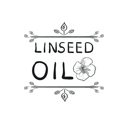 Linseed Oil VECTOR Engraving Stamp Drawing, Handwritten Template.