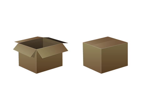 VECTOR Closed and Open Boxes, Icons Background, Delivery Concept. Illustration