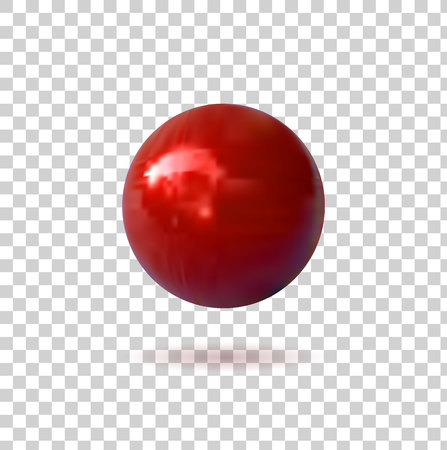 Red Pin Button, VECTOR Illustration, Sphere on Transparent Background, Realistic Icon. Illustration