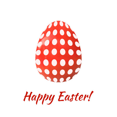 Easter Egg VECTOR Illustration Isolated on White Background, Happy Eater, Dotted Pattern Red Egg.
