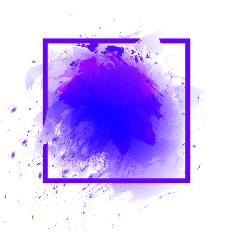 Watercolor Abstract Splash Frame, Square VECTOR Template, Ultraviolet Color.