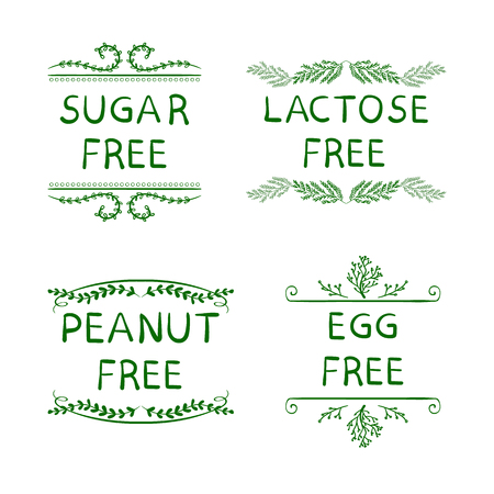 Hand Sketched VECTOR Icons for Packaging of Healthy Eating Products: Sugar, Peanut, Lactose, Egg FREE Production. Illustration