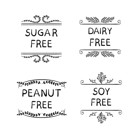 Hand Sketched VECTOR Icons for Packaging of Healthy Eating Products: Sugar, Peanut, Dairy, Soy FREE Production.