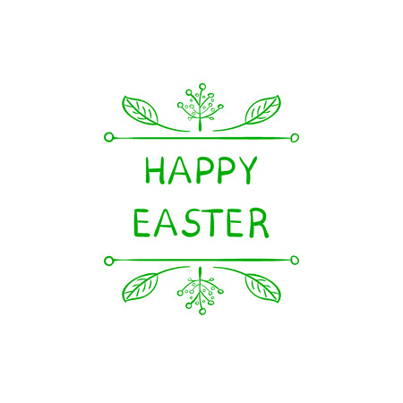 Easter Greeting Card, Cute Doodle Floral Frame and Words: Happy Easter Spring Holiday Template.