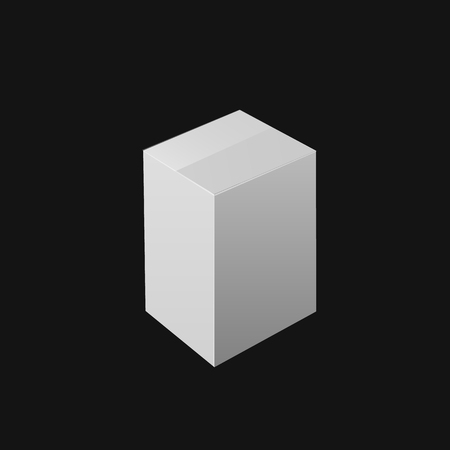 VECTOR White Box, Cube Mockup Template, Closed Box on Black Background.