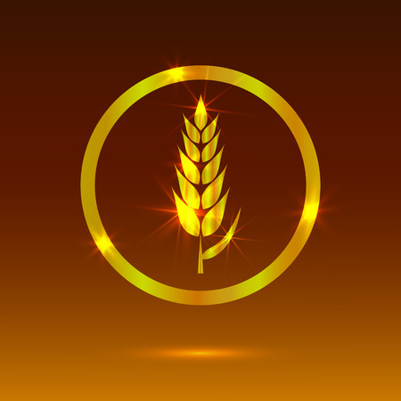 Golden Wheat, Glowing Icon, Bakery Logo VECTOR Template, Glowing Background