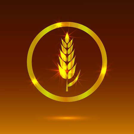 Golden Wheat, Glowing Icon, Bakery Logo VECTOR Template.