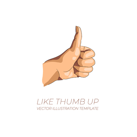 A VECTOR Thump Up Icon, Illustration Isolated on White Background, Like Sign.